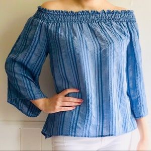 🆕NWT Fabrik Blue chambray off the shoulder top